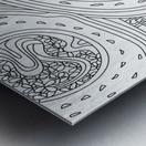 Wandering Abstract Line Art 06: Black & White Metal print