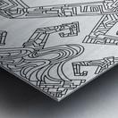 Wandering Abstract Line Art 08: Black & White Metal print