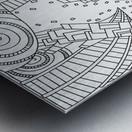 Wandering 10: black & white line art Metal print