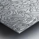 Wandering Abstract Line Art 11: Black & White Metal print