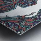 Wandering Abstract Line Art 12: Red Metal print