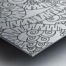 Wandering Abstract Line Art 13: Black & White Metal print