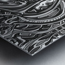 Wandering Abstract Line Art 14: Grayscale Metal print