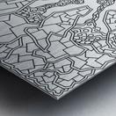 Wandering Abstract Line Art 40: Black & White Metal print