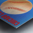 Retro Remix_Chicago Cubs Wrigley Field Art Poster_Vintage Cubs Artwork_Vintage Baseball Poster Metal print