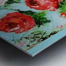 Roses on Aqua Metal print