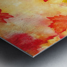 Welcome Fall Red Green Yellow Birch Oak Maple Watercolor Leaves Metal print