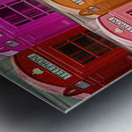 Multicoloured telephone boxes Metal print