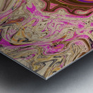 Paint Pour Tan and Pink Metal print