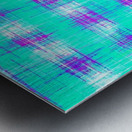plaid pattern graffiti painting abstract in blue green and pink Metal print