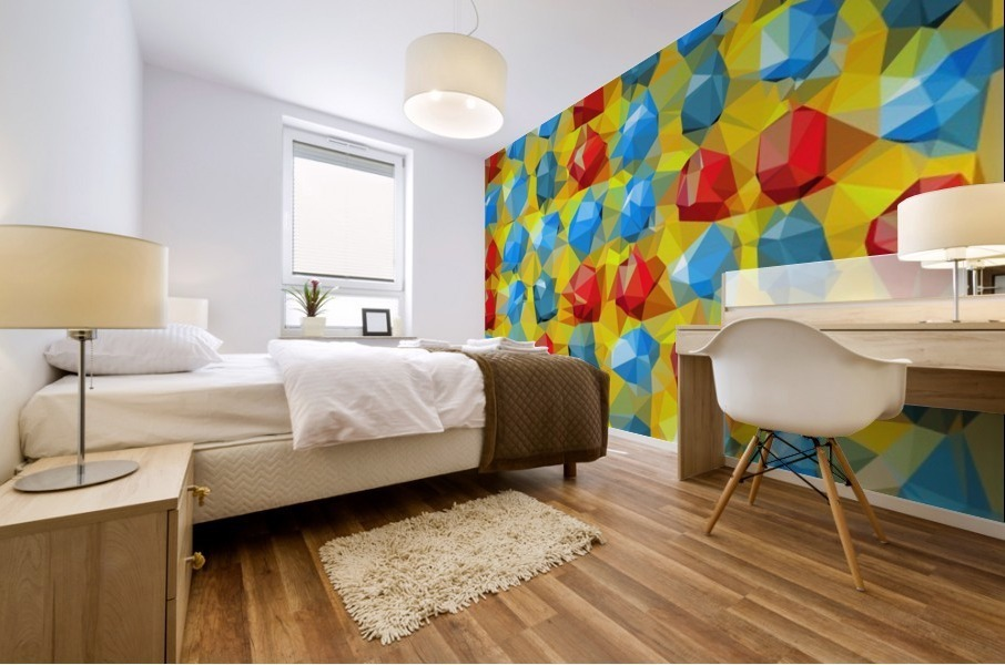 geometric polygon abstract pattern yellow blue red Mural print