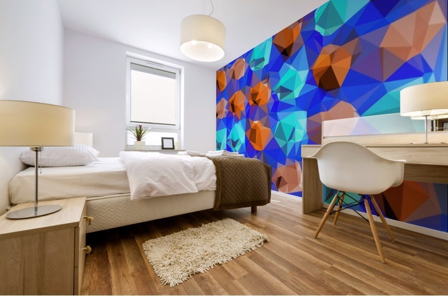 geometric polygon abstract pattern in blue and brown Mural print