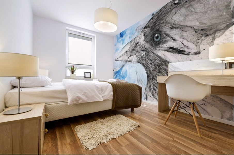 Illustration of a bird's eye and beak with mottled blue and white background Impression murale