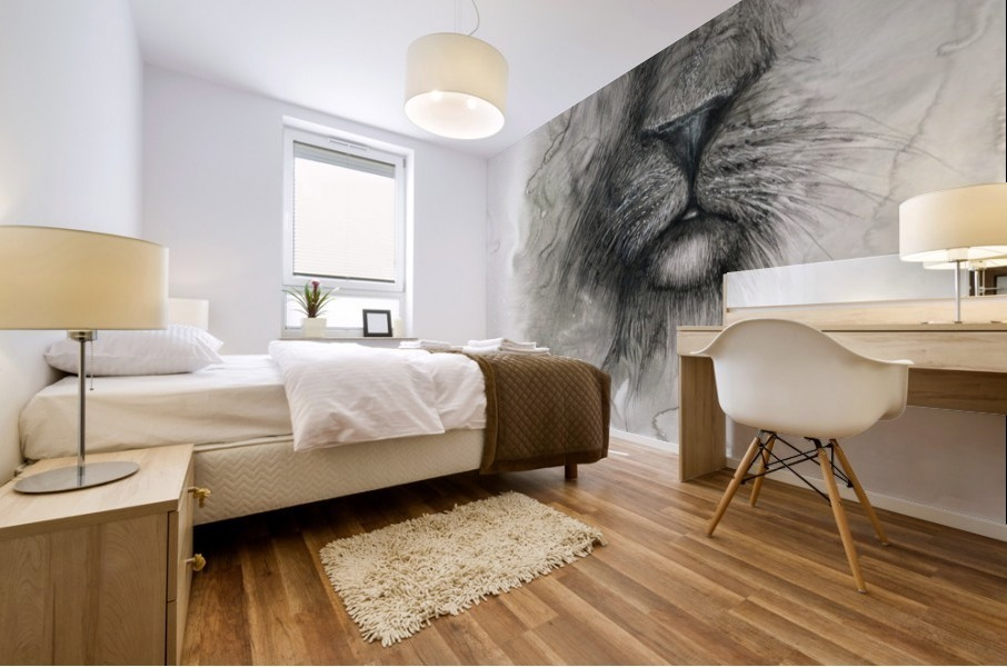 Illustration of a lion's face on a white background Mural print