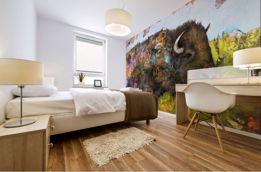Illustration of a buffalo with colourful splashes and landscape Mural print