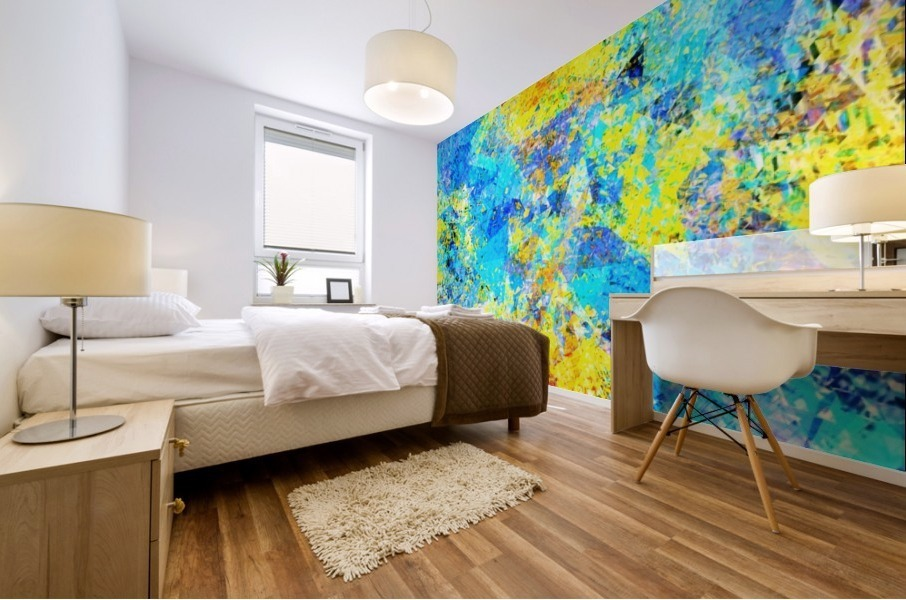 psychedelic geometric abstract pattern in yellow and blue Mural print