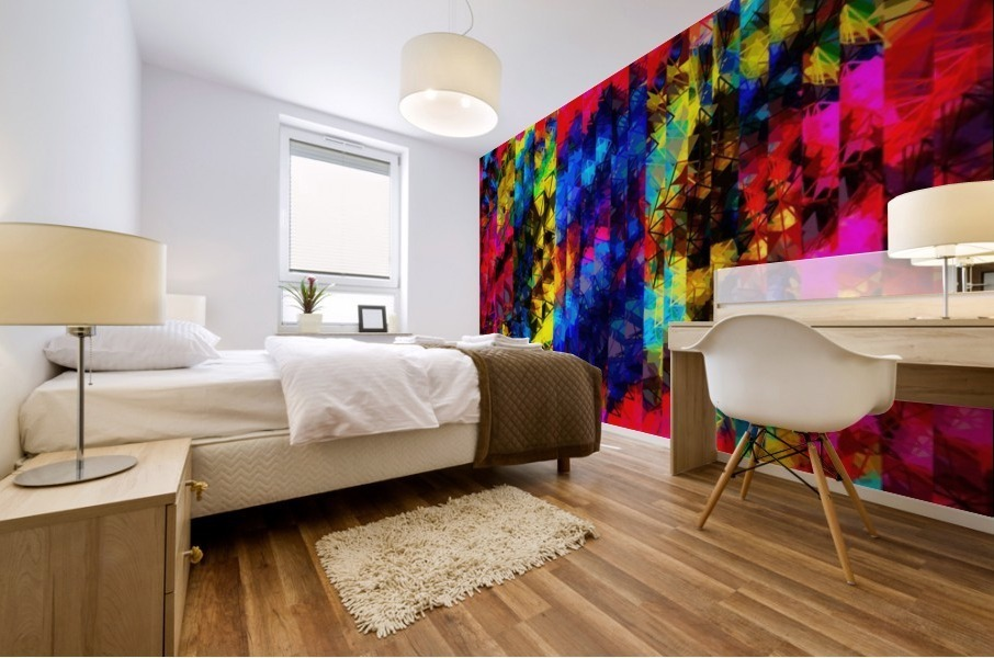 psychedelic geometric painting abstract pattern in red pink blue yellow Mural print