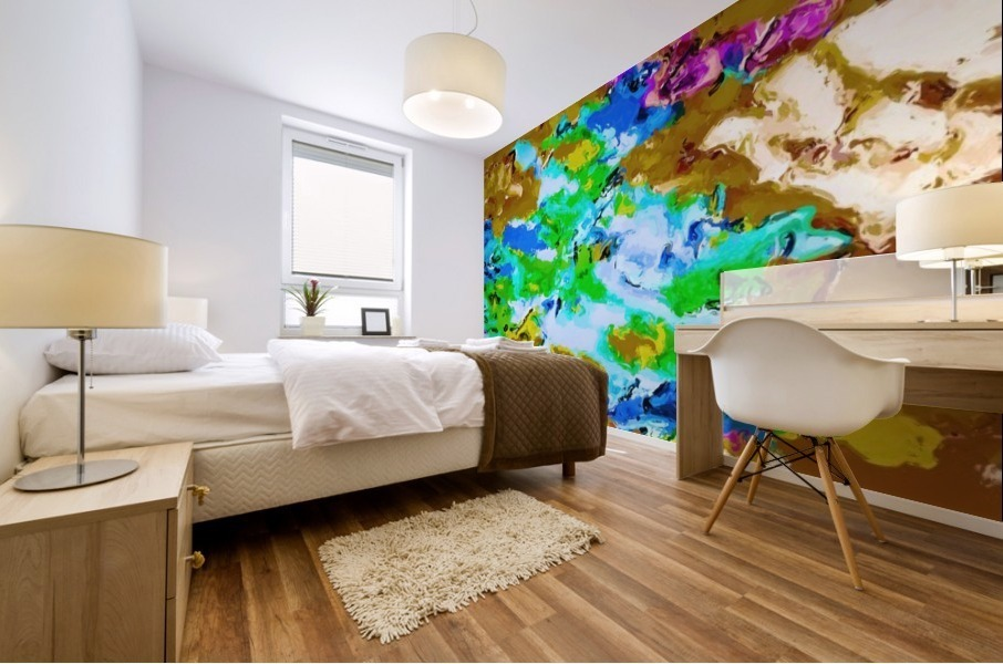 psychedelic splash painting abstract texture in brown green blue pink Mural print