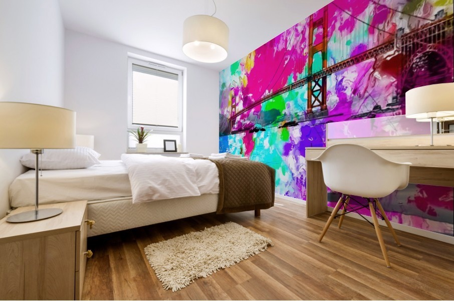 Golden Gate bridge, San Francisco, USA with pink blue green purple painting abstract background Mural print