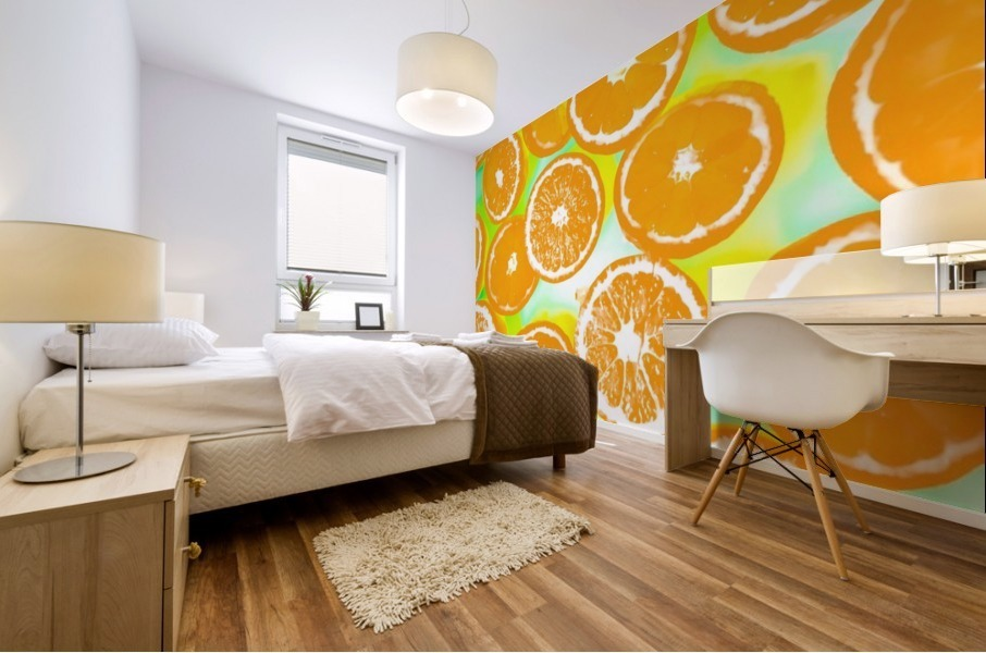 juicy orange pattern abstract with yellow and green background Mural print