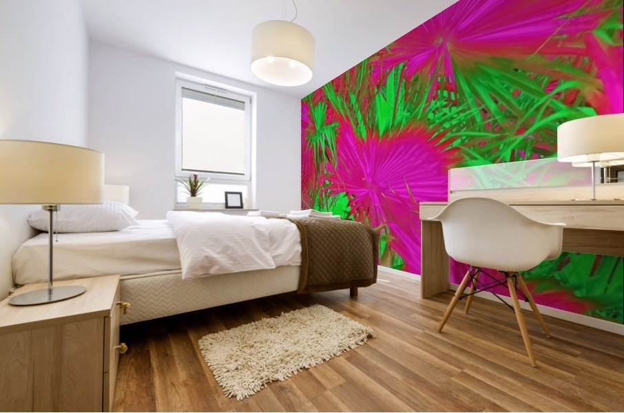closeup palm leaf texture abstract background in pink and green Mural print