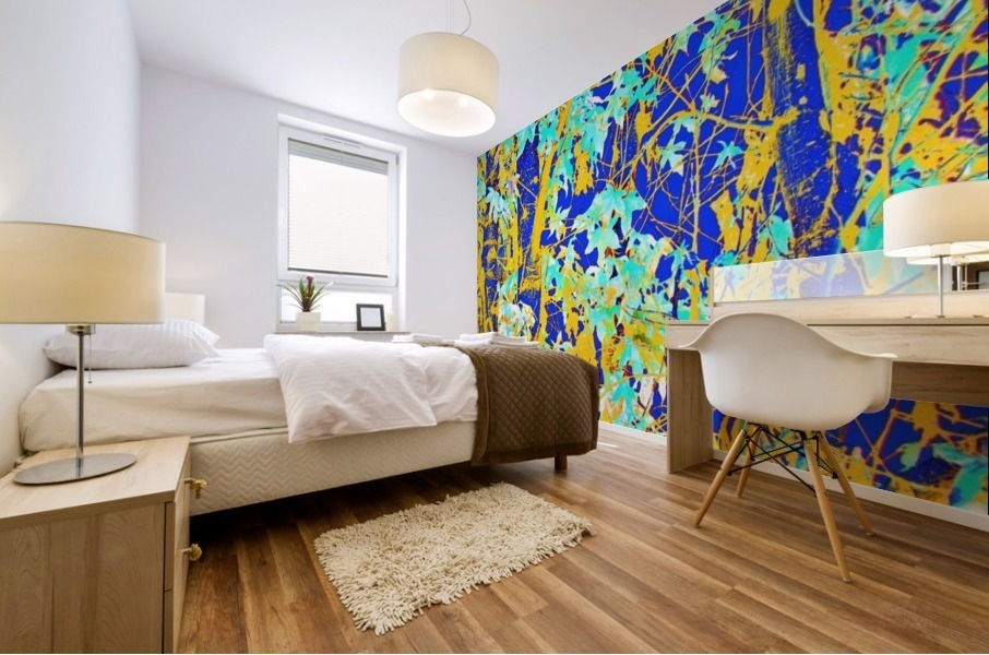 green maple tree leaf with blue and yellow abstract background Mural print