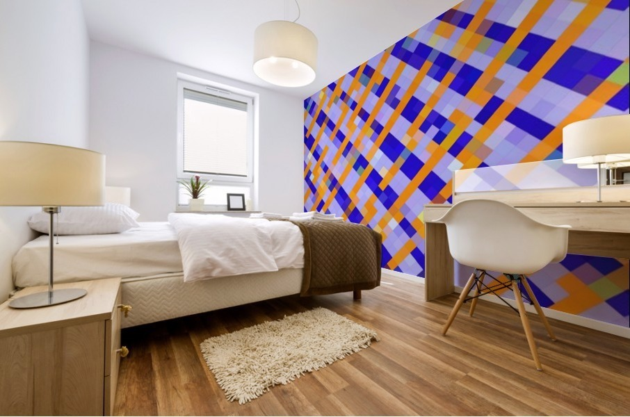 geometric pixel square pattern abstract background in orange blue purple Mural print