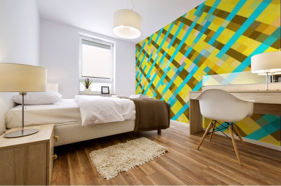 geometric pixel square pattern abstract background in yellow blue brown Mural print