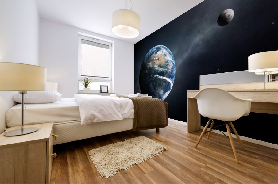 Earth and moon space view Mural print