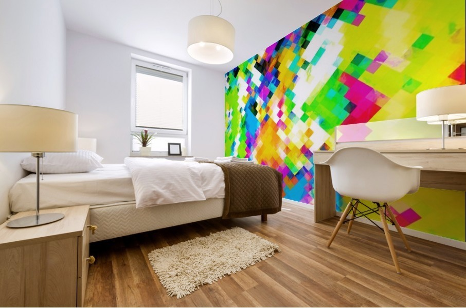 psychedelic geometric pixel abstract pattern in yellow blue green pink Mural print