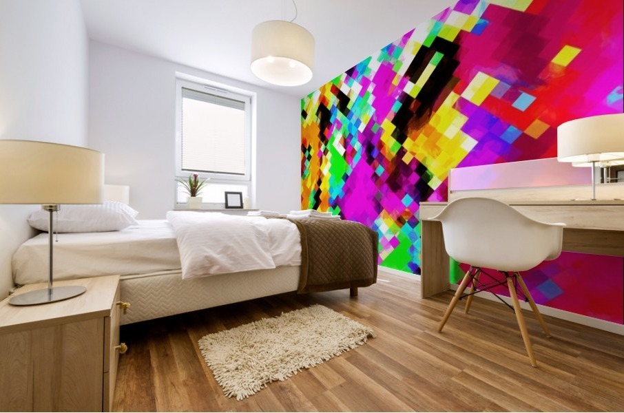 psychedelic geometric pixel abstract pattern in pink purple blue green yellow Mural print