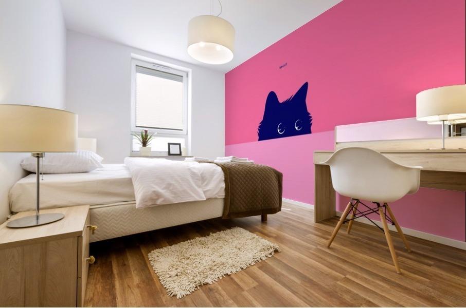 Cat on Deep Pink Mural print