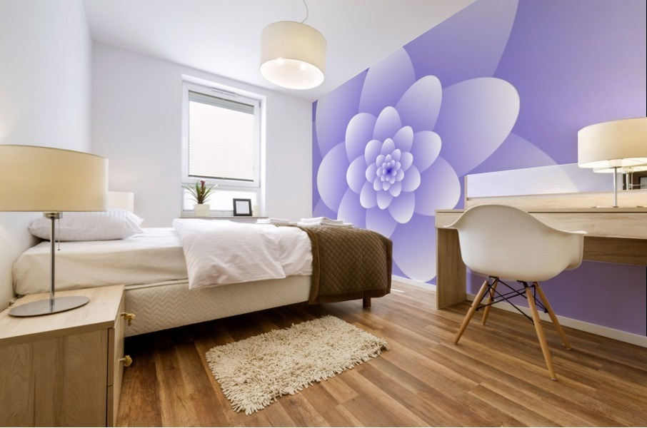Purple Floral Spiral Artwork Mural print