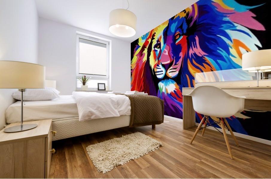 Lion Rainbow Mural print