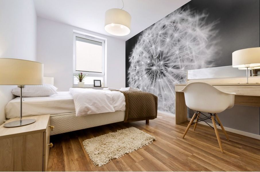 Dandylion black and White Mural print