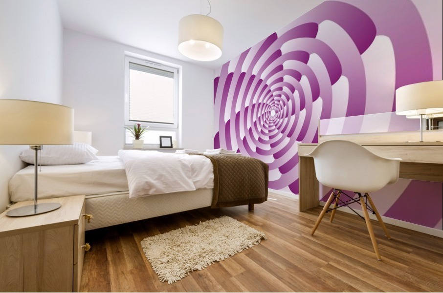 Abstract Pink Spiral Art  Mural print