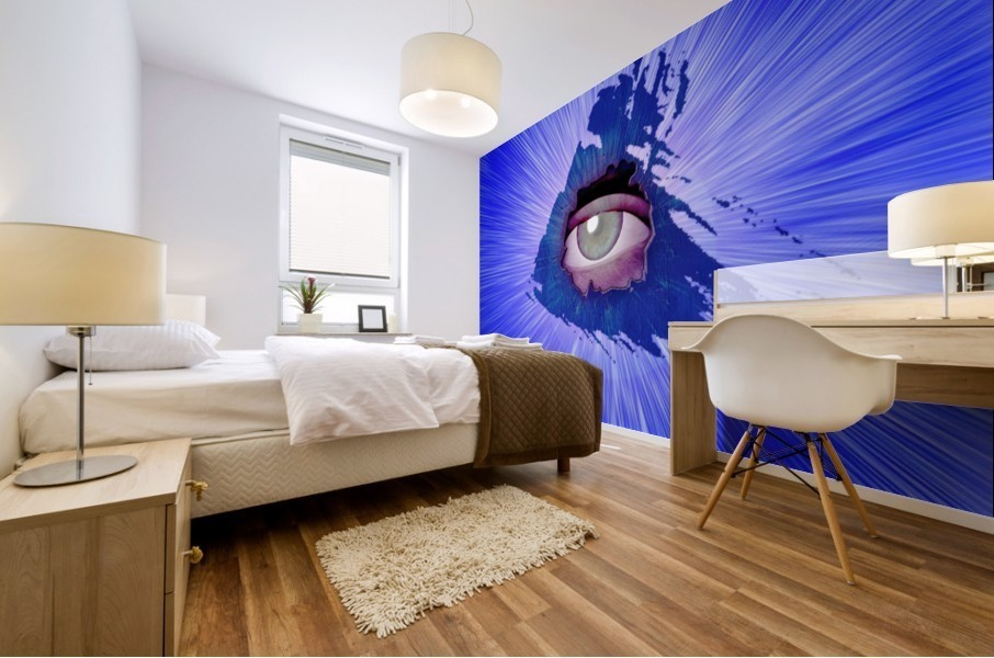 Eye behind wall crack Mural print