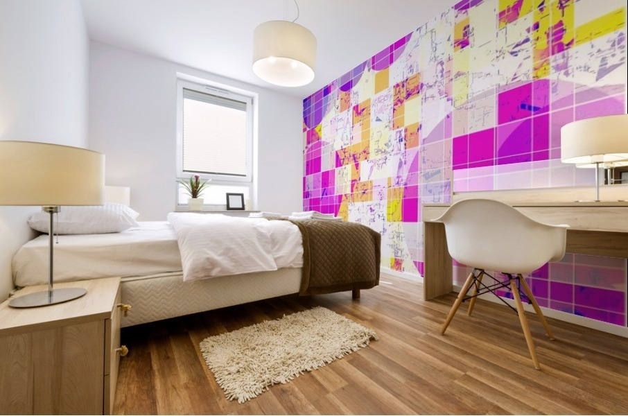 geometric square and circle pattern abstract in pink purple yellow Mural print