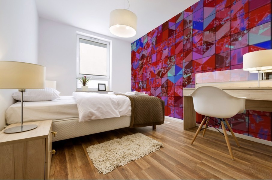 geometric square and triangle pattern abstract in red and blue Mural print