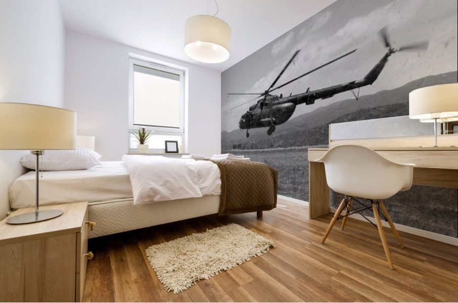 A Macedonian MI-17 helicopter landing as part of a medical transport flight. Mural print