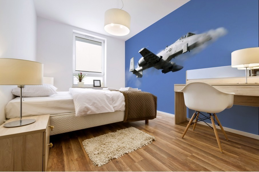 An A-10 Thunderbolt II pilot fires the planes 30-mm cannon. Mural print