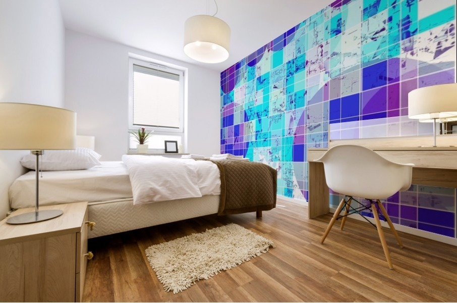 geometric square and circle pattern abstract in blue Mural print