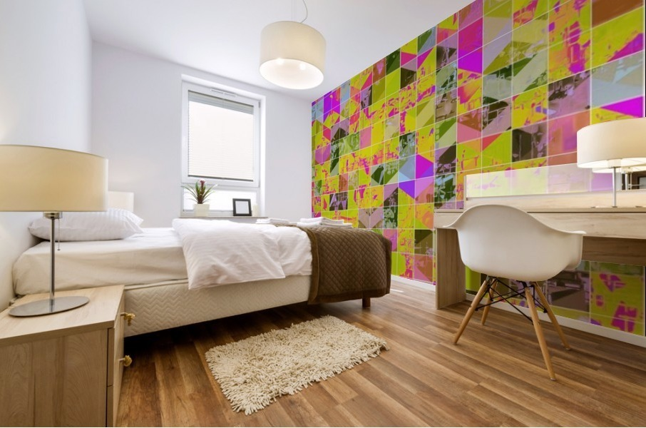 geometric square pattern abstract in yellow green pink Mural print
