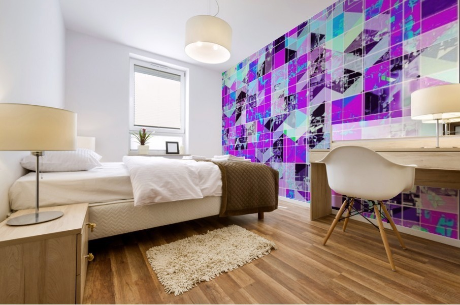 geometric square pattern abstract in purple blue Mural print