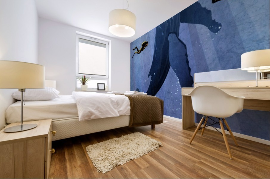 Scuba Dive with Whale Mural print