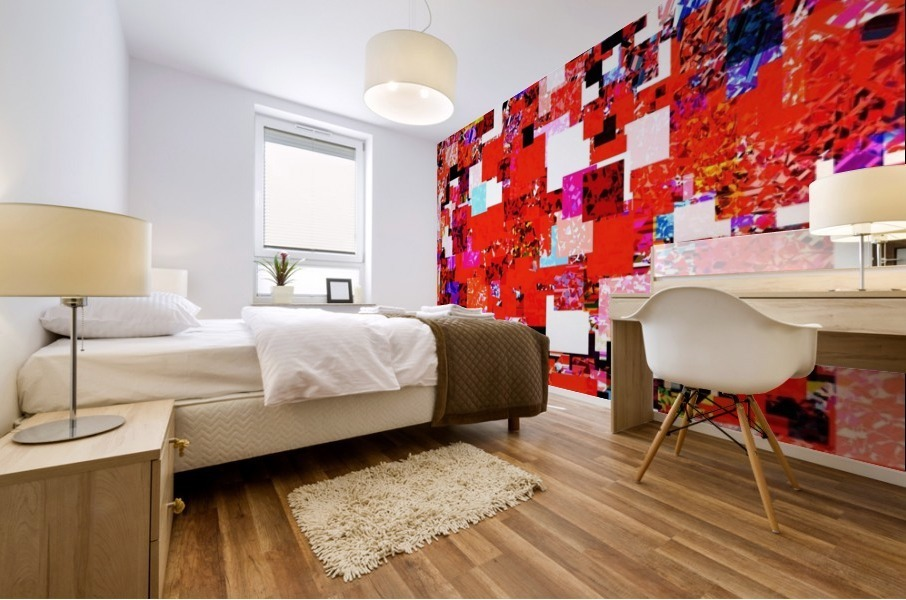 geometric square pixel pattern abstract in red blue pink Mural print