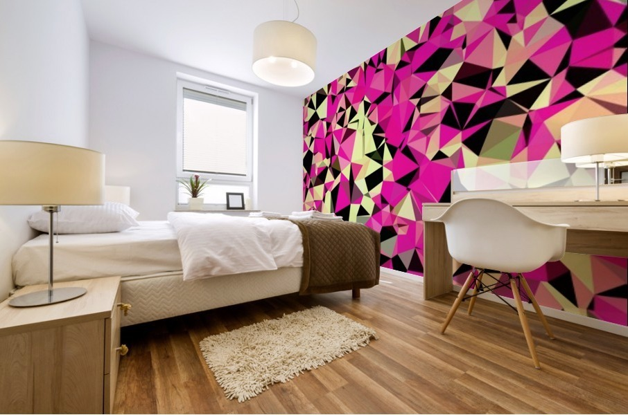 geometric triangle pattern abstract in pink and black Mural print