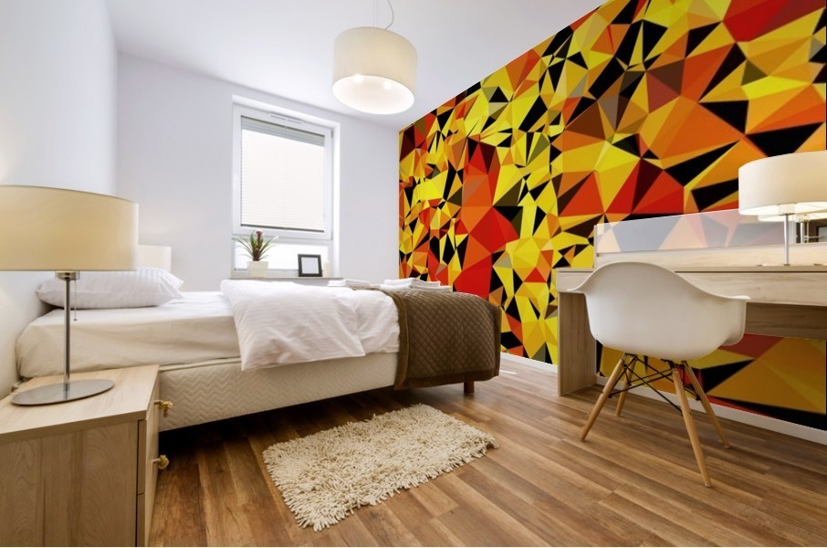 geometric triangle pattern abstract in orange yellow red Mural print