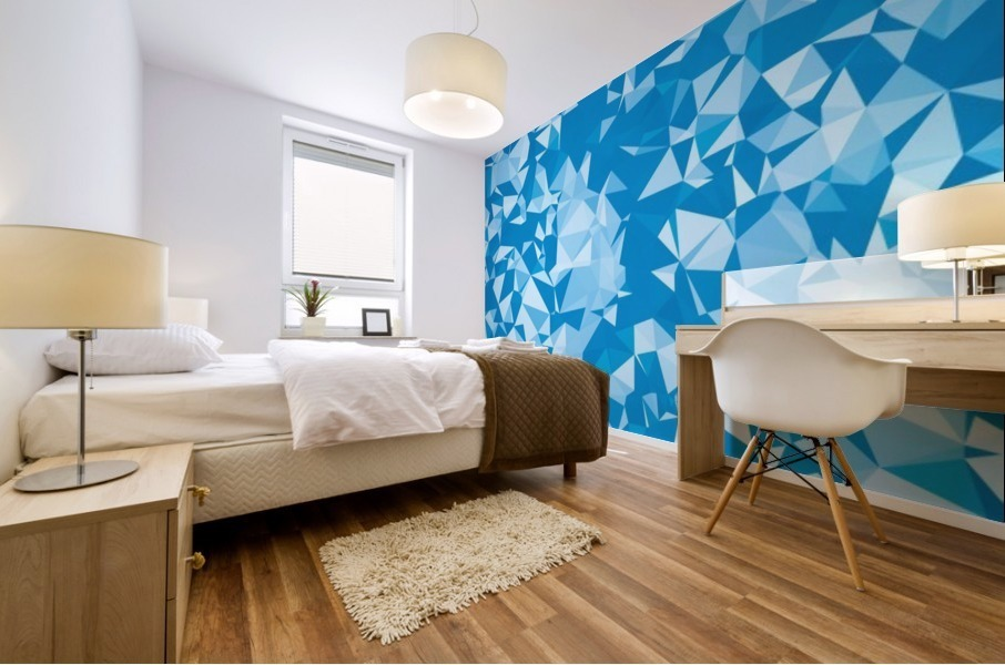 geometric triangle pattern abstract in blue Mural print