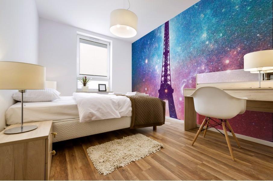 Eiffel Tower - Milky Way Collage Mural print